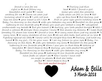 Ed sheeran lyrics etsy printable ed sheeran beyonce perfect lyrics heart design wedding present couple gift love stopboris Images