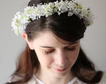 Clearance-Rustic Woodland Wedding Floral Flower Crown ,Ivory flower headband,Bridal Headpiece ,Flower Hair Wreath Accessory