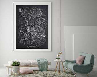 CHATTANOOGA Tennessee Chalkboard Map Art Black and White Chattanooga TN Vintage City Map Graphic Detailed Scheme Street Map Wall Art Decor