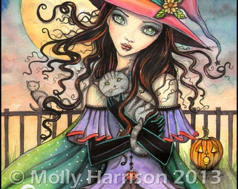 Winds of Halloween - Original Witch Cat Halloween Art Archival Giclee Print 8 x 10