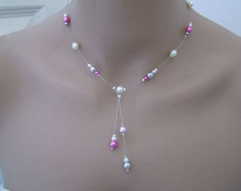 Necklace elegant ivory/pink/Fuchsia/silver/gray mouse Original p dress of bride/wedding/party/ceremony/cocktail glass pearl beads