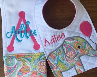 Elephant Bib and Burp Cloth Set of 2 - Personalized Bib and Burp Cloth - Girl Bib Set - Newborn Gift Set - Pink / Paisley Bib and Burp Cloth