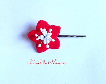 hair clip Bobby creation original red St flower white