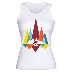 Strolling Bear Colorful Mountains Art Women's Tank Top Shirt