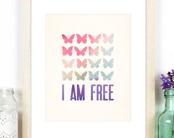 "Butterfly Art Print ""I am Free"" - 8x10 / A4 Inspirational Quote, Watercolour Butterflies, Rainbow, Red, Pink, Green, Blue, Purple"