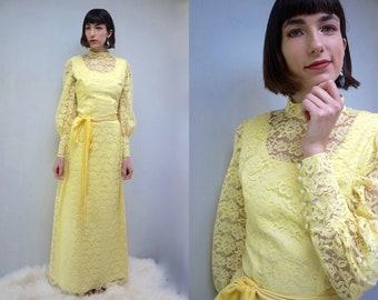 Long Sleeve LACE Bridesmaid Dress YELLOW DRESS Lace Dress Maxi Dress 70s Dress Summer Dress Hippie Dress Pencil Dress Long Dress