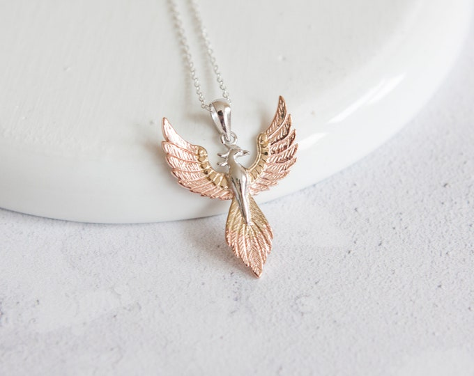 Featured listing image: Yara * Phoenix Necklace * Sterling Silver * Rose Gold * Rebirth Symbol * Risen from Ashes * Fantasy Jewelry * Greek Mythology Pendant *