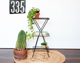 Mid Century Wire Plant Stand, Metal Plant Holder, Indoor Plant Stands, Metal Magazine Table, Metal Side Table with Shelf, Wire Side Table