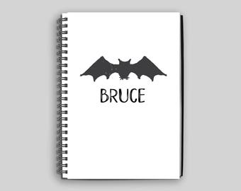 Bat Wire Bound Notebook ~ Personalized Bat Journal ~ Custom Bat Diary ~ Boy's Journal ~ Personalized Gift ~ Child's Diary ~ Bat