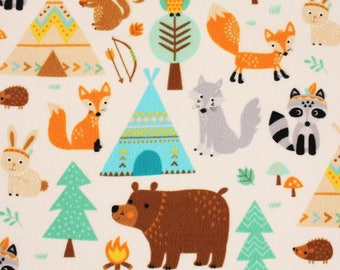 Teepee Time Bears Foxes Owls Rabbits Squirrels Hedgehogs printed Flannel Fabric by Northcott by the Half Yard