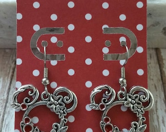 Beautiful Mickey/Minnie Mouse Ear Earrings - Floral Antique Silver Color - Great Gift Idea -  Low Flat Rate Shipping for US Orders