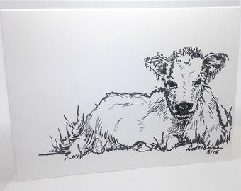 Baby Calf Card: Brush Pen Drawing Baby Shower, Thinking Of You