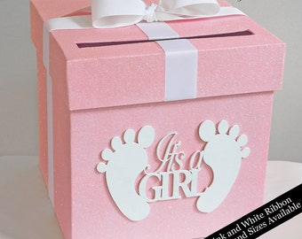 Baby Shower Glittered Card Box- Choose Your Colors and Size