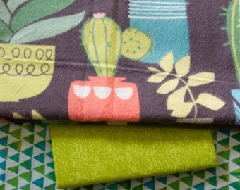 """Made to Order, Handmade Flannel Baby Quilt, """"Cactus"""""""