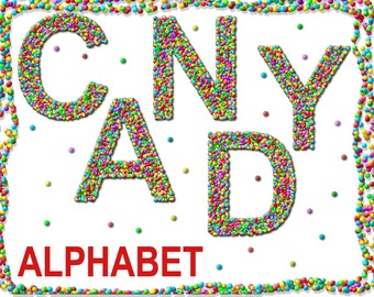 Digital Candy Alphabet for scrapbooking, kids birthday clip art, Papercrafts, food collage, Printable Lettering, Instant Download, #1