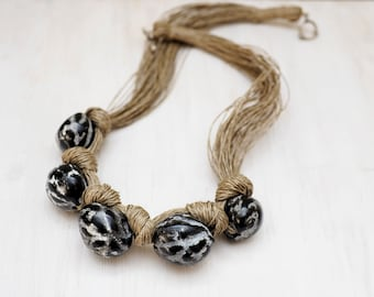 Monochrome Linen necklace