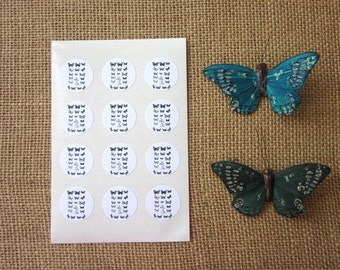 Butterfly Stickers One Inch Round Seals