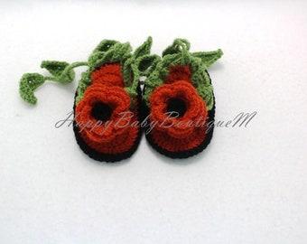 Crochet Baby Sandals, Baby Girl Sandals, Baby Gladiator Sandals with Flower,Crochet Child Booties,Crochet Child Sandals,Child Lady Sandals