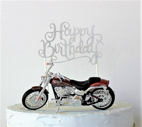 Motorcycle Cake Topper Happy Birthday Cake Topper Birthday