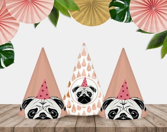 """Printable """"Party Pug"""" Party Hats"""