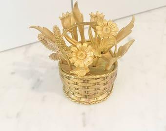 Gold Tone Cocktail Forks in Flower Basket by Tan, 1964, Vintage Cocktail Forks, Hors d'Ouevres, Bar Cart Accessories