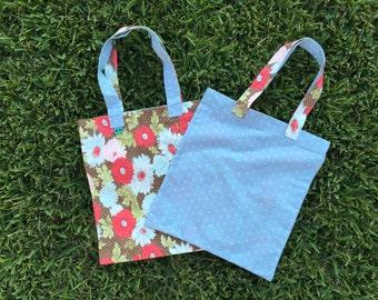 Tote Bag - red/brown floral - light blue polka dot