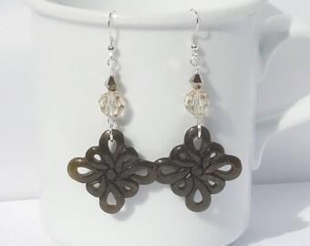 Golden sheen obsidian, Swarovski crystal, and sterling silver earrings