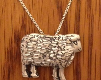 Sheep Pendant Necklace in Solid Sterling Silver 925 Comes On 18 Inch Box Link Chain Wool Natural Color 4H FFA Livestock Jewelry