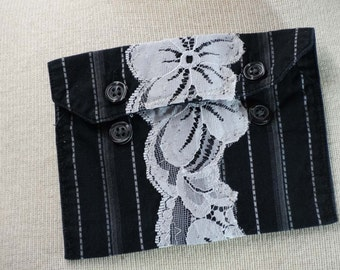 Upcycled Clothing Jewelry Pouch Coin Purse Bridesmaids Gift Gift Card Holder
