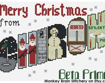 Merry Christmas from Chiron Beta Prime Postcard Cross Stitch Pattern (INSTANT DOWNLOAD)
