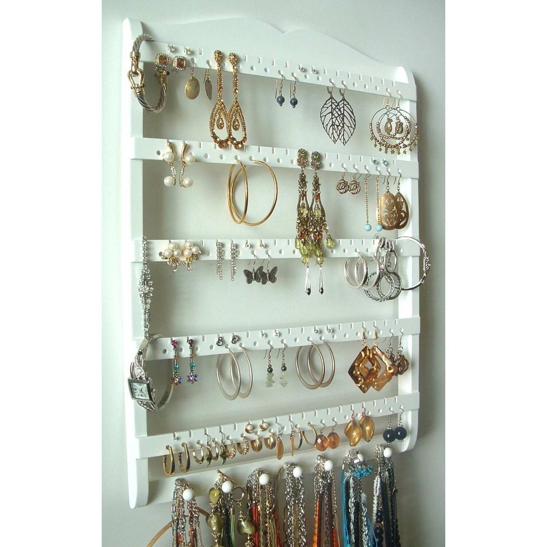 Jewelry Organizer Wall Jewelry Holder And Organizers On: Jewelry Holder Earring Organizer Solid Oak Wood White Stain