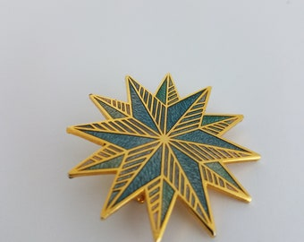 Vintage Blue Star Pin Brooch Enamel Gold Finish
