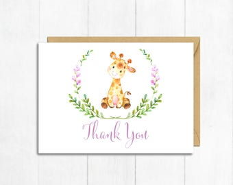 Lilac Giraffe Thank You Card, Baby Girl Thank You Card, Giraffe Baby Shower Thanks, Flat Postcard Style Thanks, Girl Instant Download 307-L