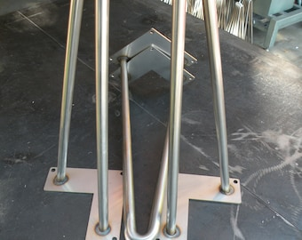 """29 Inch Stainless Steel Hairpin Legs 1/2"""" Bar"""