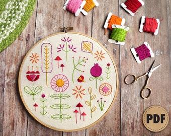 Beginner Embroidery Sampler, Retro Modern, Flower Embroidery Design, Downloadable Pattern, Scandinavian Folk Art, DIY Crafts, Summer Garden