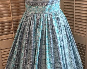 Vintage Day Dress~ Vintage Fashion, Vintage Dress, 50's Dress,Full Skirt Dress,Patterned Boatneck Dress,Vintage Cotton Dress,Movie Wardrobe