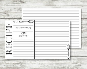Recipe Card Template, Recipe Cards Printable, Recipe Cards 4x6, 4x6 Recipe Cards, Recipe Template, Recipe Card Printable