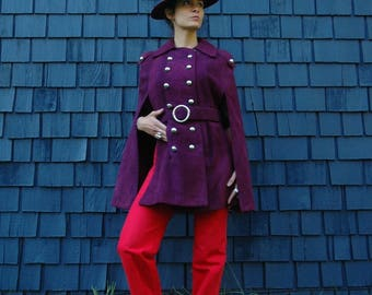 RESERVED for Jo... do not buy...Purple Suede Capelet Jacket.. Vintage 1960s Vintage Cape Purple Leather Belted... Jimi Hendrix Couture