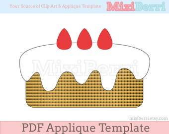 Strawberry Cake Applique Template PDF / Applique Pattern