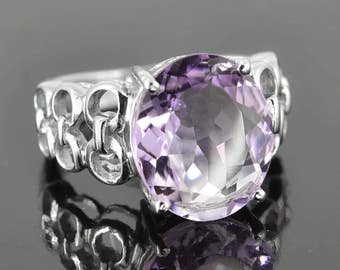 Amethyst Ring, 7 ct, Purple, Oval Cut, Birthstone Ring, February, Gemstone Ring, Sterling Silver Ring, Solitaire Ring, Statement Ring