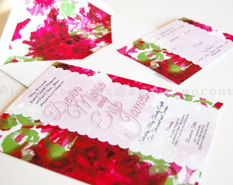Abstract Floral with Inferred Slightly Transparent Decorative White Band UNIQUE WEDDING INVITATION, Reds and Greens, Hand Painted Florals