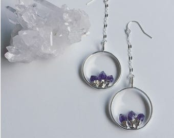 Amethyst & Sterling Drop Earrings