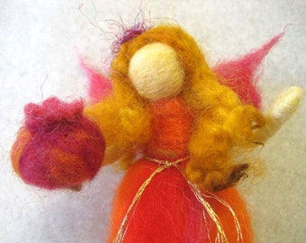 Needle felted, Fall Fairy, Waldorf doll, with Pomegranate, Original Design by Borbala Arvai, READY to ship