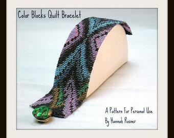 Beading Pattern Color Blocks Quilt Beaded Bracelet TUTORIAL INSTRUCTIONS