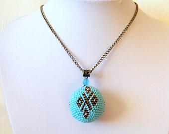 Geometric Blue Ball Pendant - Globe Pendant - Bead crochet pendant - Modern Pendant Necklace - Ornament pendant - sky blue, brown necklace