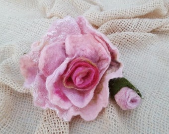 Pink felted flower Rose pin brooch