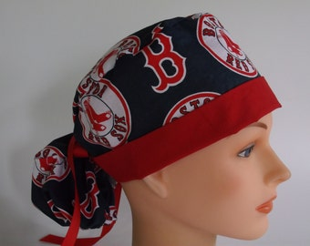 Boston Red Sox Navy fabric Ponytail - Womens lined surgical scrub cap, scrub hat, Nurse surgical cap, F/111+4900 W