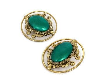 Victorian Revival Clip Earrings Green Cabochon Gold Tone Scrolls BIG