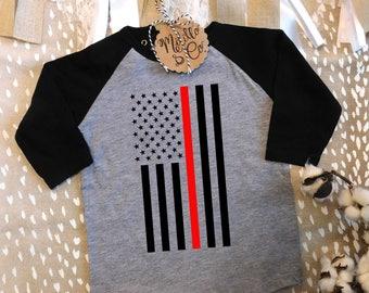 Firefighter Baby Shirt,Fireman Baby Shirt,Thin Red Line Baby Clothes,Firefighter Baby Gift,Fireman Baby Shower Gift,Firefighter Baby Outfit
