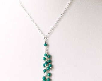 Turquoise necklace, turquoise pendant, sterling silver, DECEMBER BIRTHSTONE, gift for her, layered look, wire wrapped turquoise beads